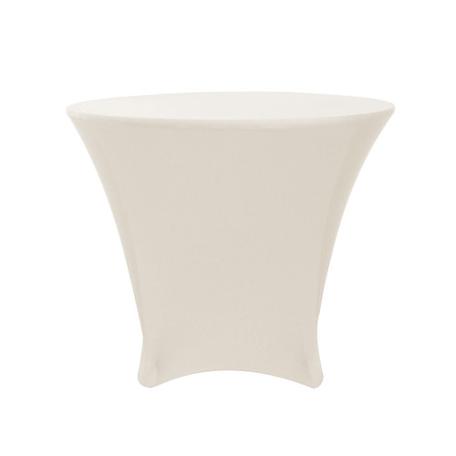 36 x 30 inch Lowboy Cocktail Round Stretch Spandex Table Cover Ivory