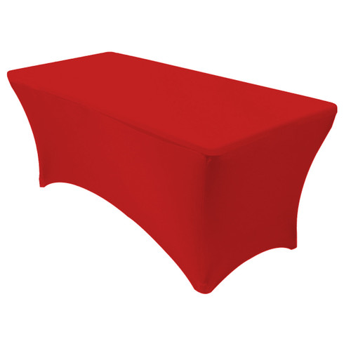 Stretch Spandex 5 ft Rectangular Table Cover Red