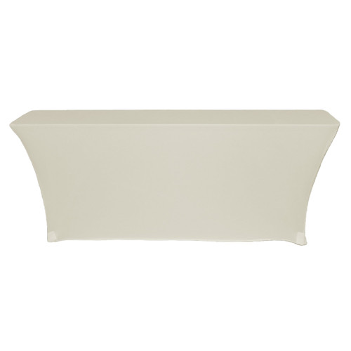 Spandex 6 Ft x 18 Inches Open Back Rectangular Table Cover Ivory