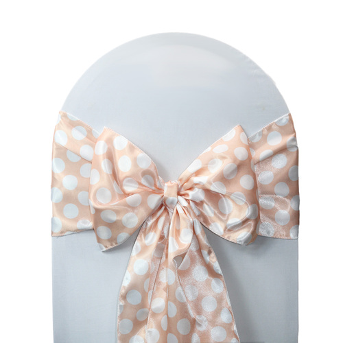 10 Pack Satin Sashes Peach/White Polka Dots