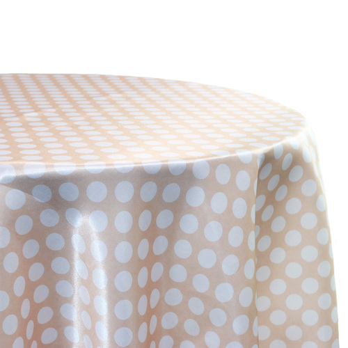 Peach and White Polka Dot Tablecloth