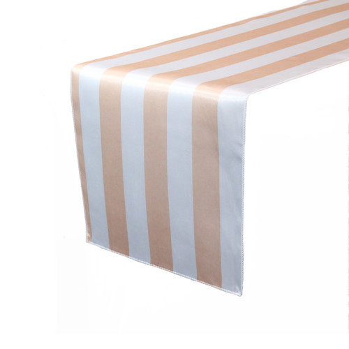 14 x 108 inch Satin Table Runner Peach/White Striped