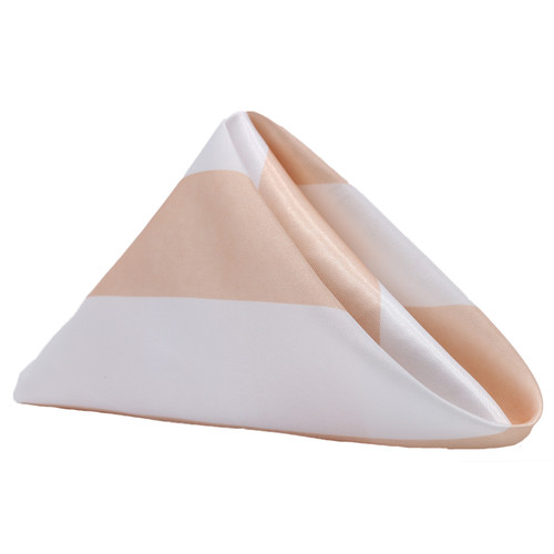 20 inch Satin Cloth Napkins Peach/White Striped