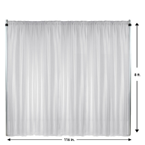 Voile Sheer Drape/Backdrop 8 ft x 116 Inches White