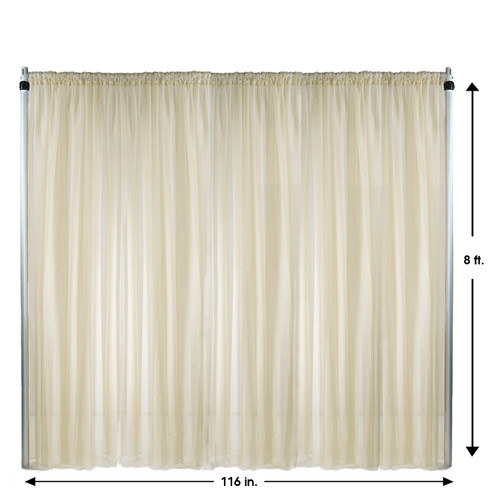 Voile Sheer Drape/Backdrop 8 ft x 116 Inches Ivory