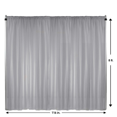 Voile Sheer Drape/Backdrop 8 ft x 116 Inches Silver