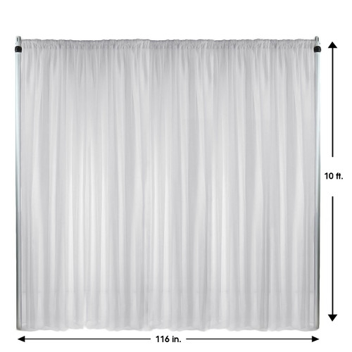 Voile Sheer Drape/Backdrop 10 ft x 116 Inches White