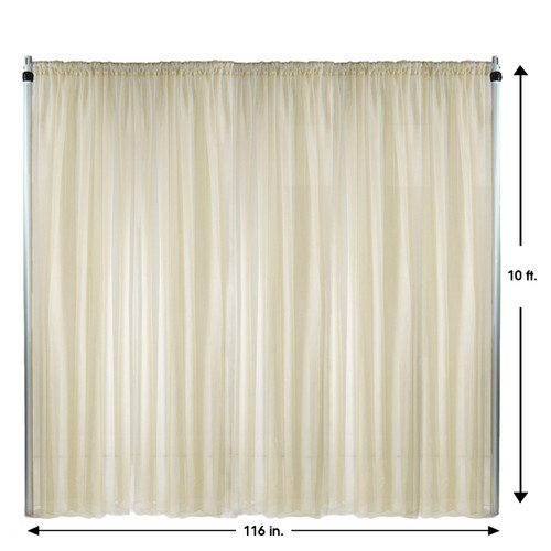 Voile Sheer Drape/Backdrop 10 ft x 116 Inches Ivory