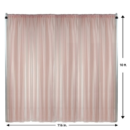 Voile Sheer Drape/Backdrop 10 ft x 116 Inches Blush