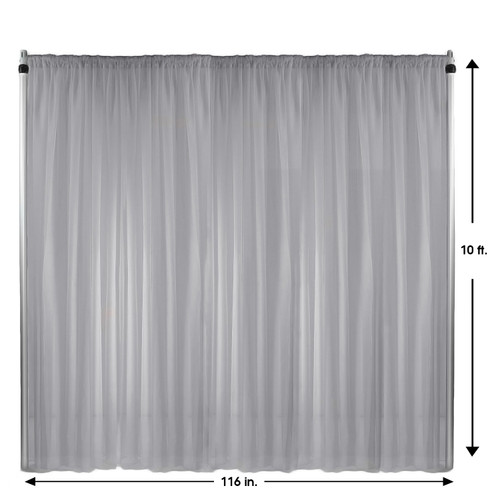 Voile Sheer Drape/Backdrop 10 ft x 116 Inches Silver