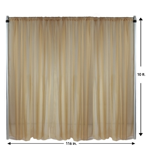 Voile Sheer Drape/Backdrop 10 ft x 116 Inches Champagne