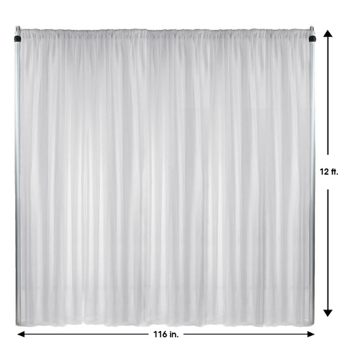 Voile Sheer Drape/Backdrop 12 ft x 116 Inches White