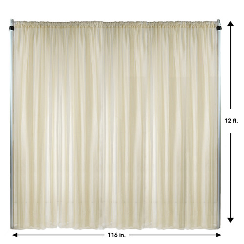Voile Sheer Drape/Backdrop 12 ft x 116 Inches Ivory