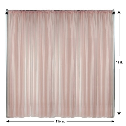 Voile Sheer Drape/Backdrop 12 ft x 116 Inches Blush