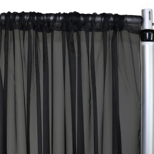 Voile Sheer Drape/Backdrop 12 ft x 116 Inches Black