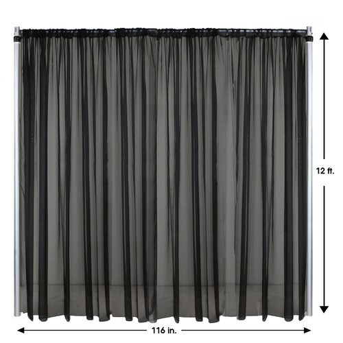 Drape/Backdrop 12 ft x 116 Inches Black