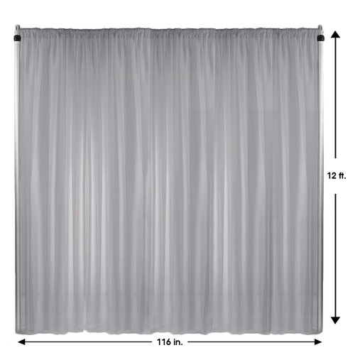 Voile Sheer Drape/Backdrop 12 ft x 116 Inches Silver