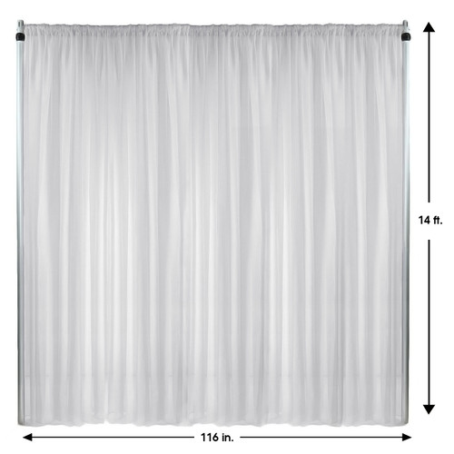 Voile Sheer Drape/Backdrop 14 ft x 116 Inches White