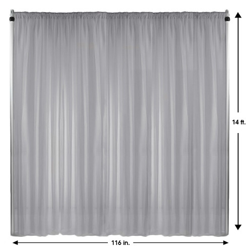 Voile Sheer Drape/Backdrop 14 ft x 116 Inches Silver