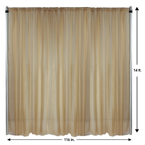 Voile Sheer Drape/Backdrop 14 ft x 116 Inches Champagne