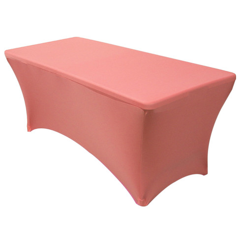 Stretch Spandex 8 ft Rectangular Table Cover Coral