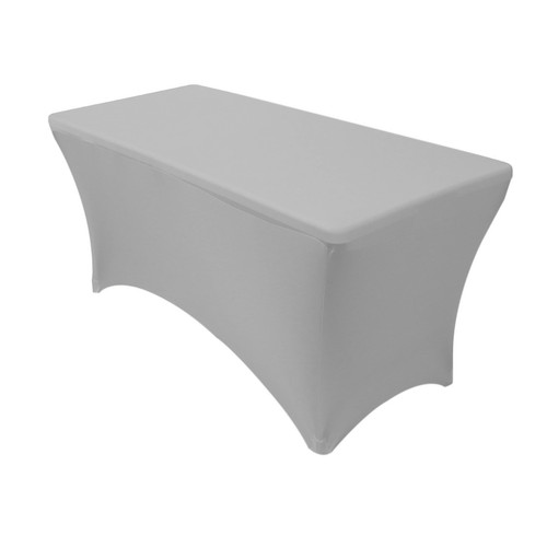 Stretch Spandex 4 ft Rectangular Table Cover Gray