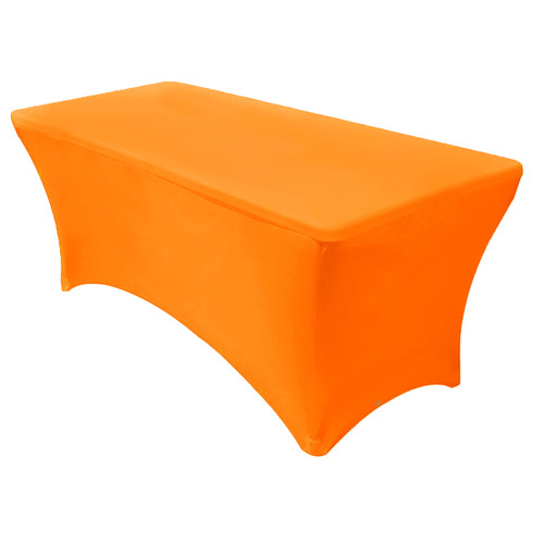 Stretch Spandex 8 ft Rectangular Table Cover Orange