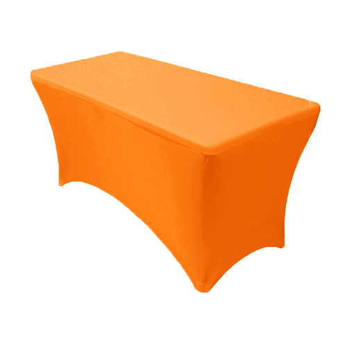 Stretch Spandex 4 ft Rectangular Table Cover Orange