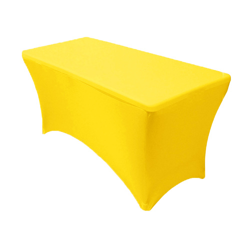 Stretch Spandex 4 ft Rectangular Table Cover Yellow