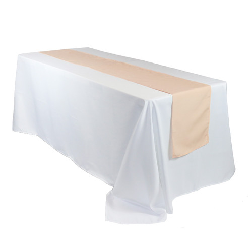 14 x 108 inch Polyester Table Runners Peach on rectangular table