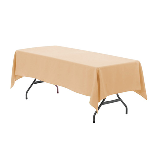 60 x 102 inch Rectangular Polyester Tablecloth Peach