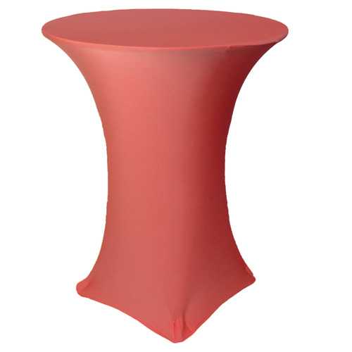 36 inch Highboy Cocktail Round Stretch Spandex Table Cover Coral