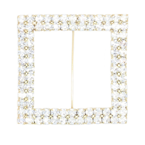 Square Rhinestone Chair Sash Buckle Gold