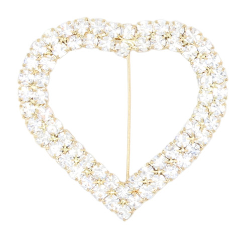 Heart Rhinestone Chair Sash Buckle Gold