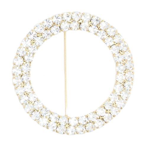 Round Rhinestone Chair Sash Buckle Gold