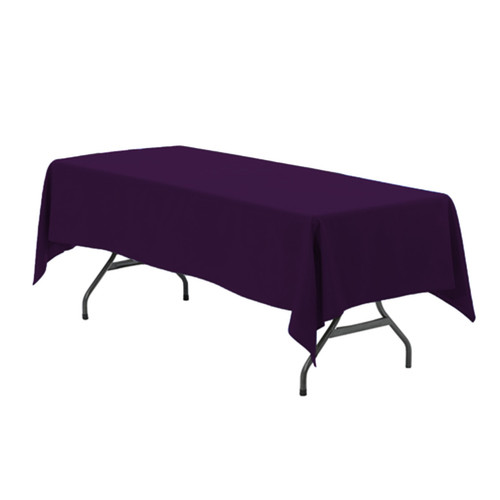 60 x 126 Inch Rectangular Polyester Tablecloth Eggplant