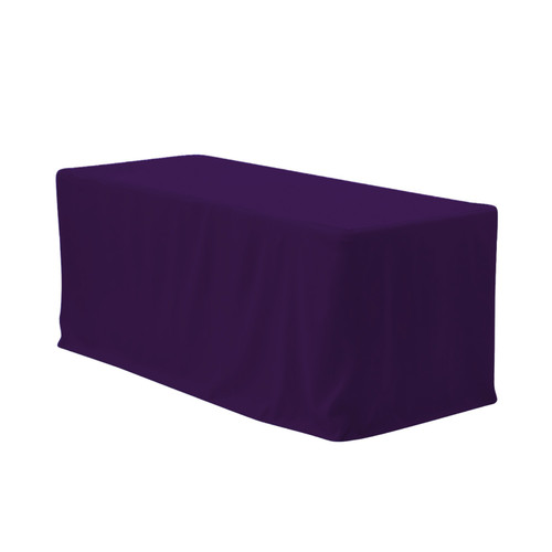 6 ft Fitted Polyester Tablecloth Rectangular Eggplant