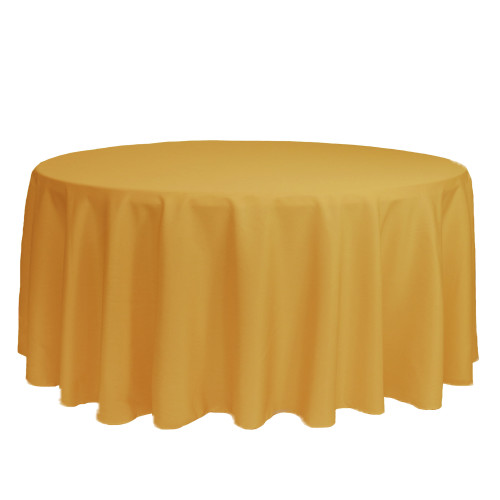 132 Inch Round Polyester Tablecloth Gold