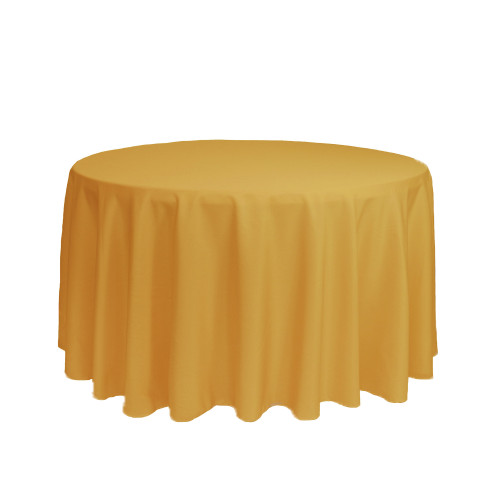 108 Inch Round Polyester Tablecloth Gold