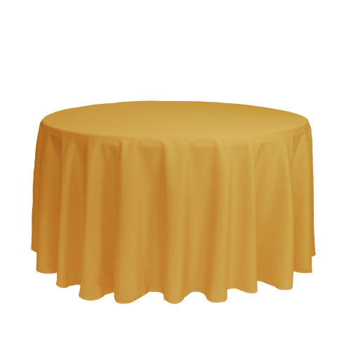 120 inch Round Polyester Tablecloths Gold