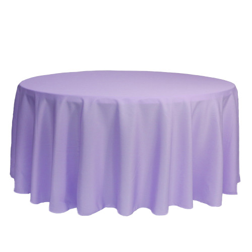 132 Inch Round Polyester Tablecloth Lavender