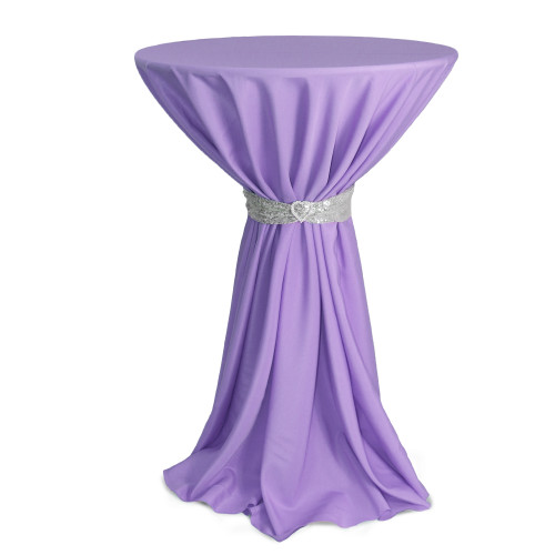 120 Inch Round Polyester Tablecloth Lavender on cocktail table