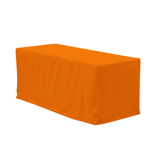 8 ft Fitted Polyester Tablecloth Rectangular Orange
