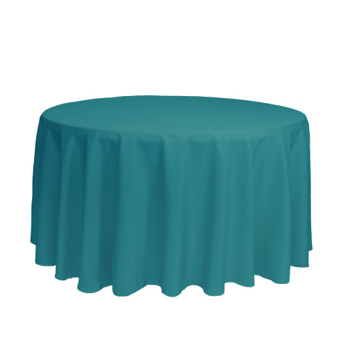 120 Inch Round Polyester Tablecloth Teal