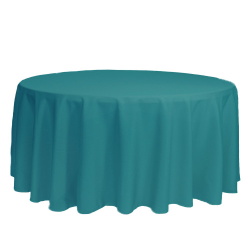 132 Inch Round Polyester Tablecloth Teal