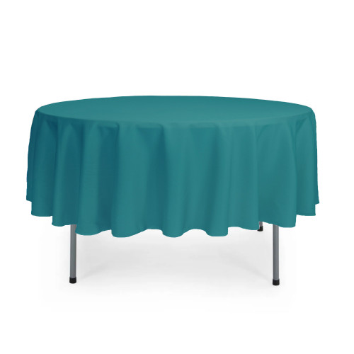 90 Inch Round Polyester Tablecloth Teal