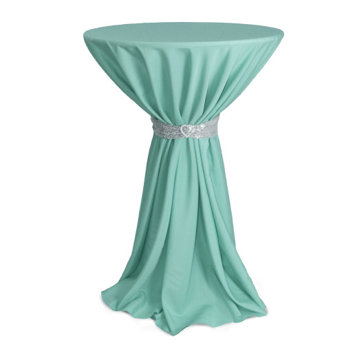 108 Inch Round Polyester Tablecloth Tiffany on cocktail table