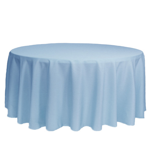 132 Inch Round Polyester Tablecloth Light Blue