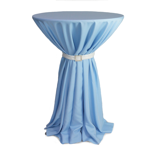 108 Inch Round Polyester Tablecloth Light Blue on cocktail table