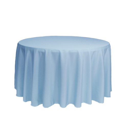 108 Inch Round Polyester Tablecloth Light Blue